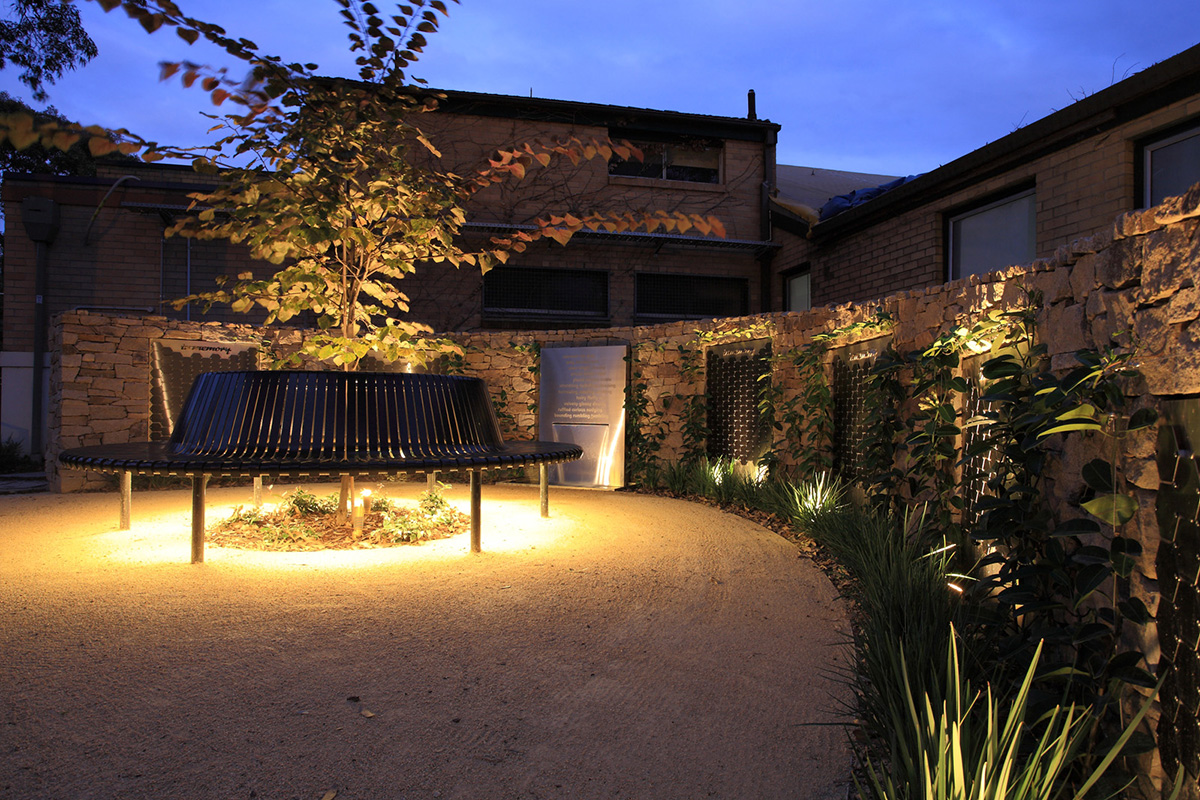 Therapeutic landscape design walled garden at night