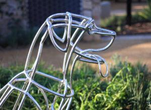 Wire dog sculpture landscape architecture