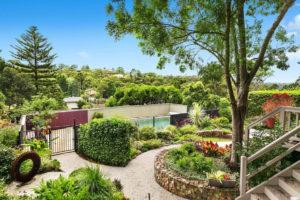 Backyard landscape design with gabion walls