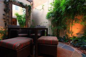 Backyard landscape design seating
