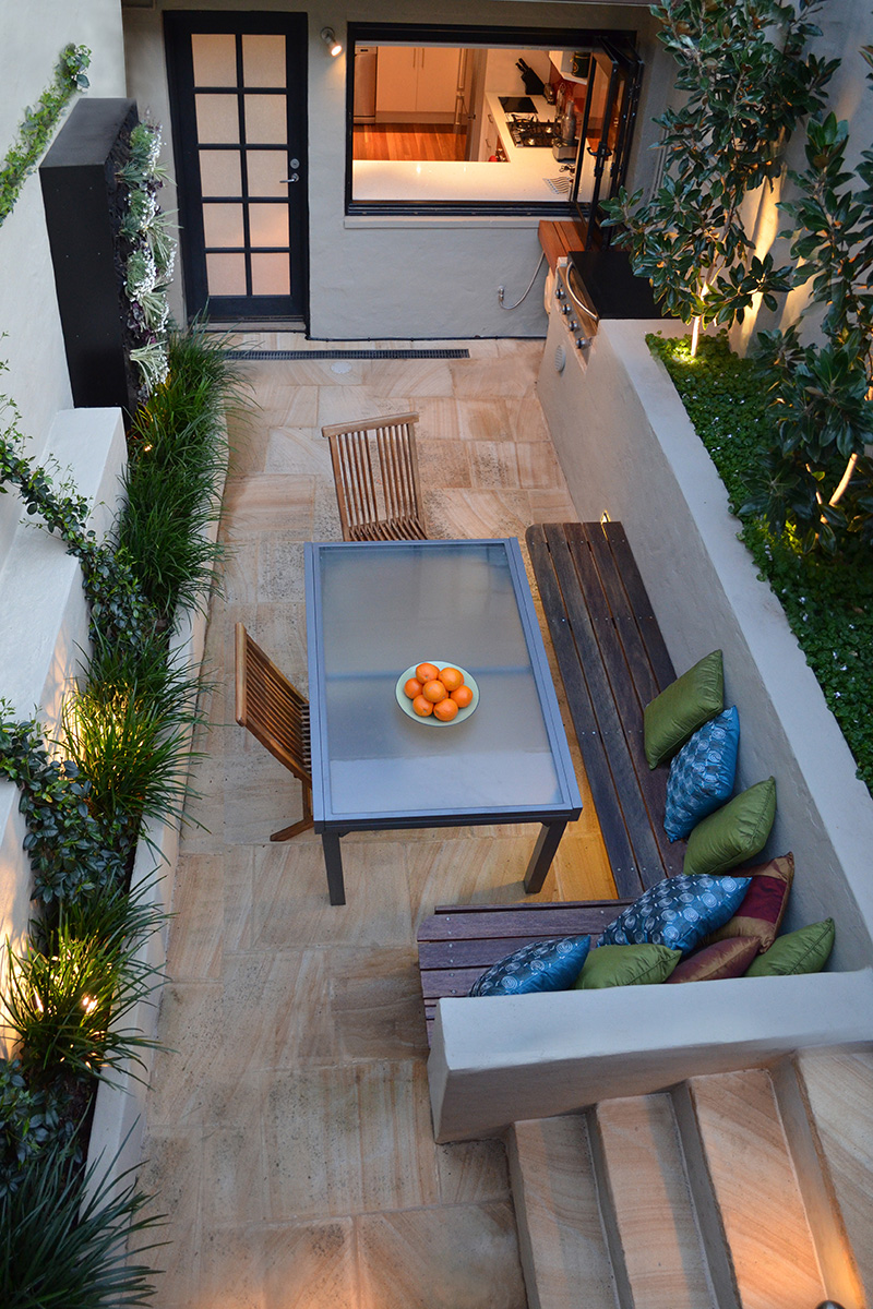 Courtyard landscape design at dusk