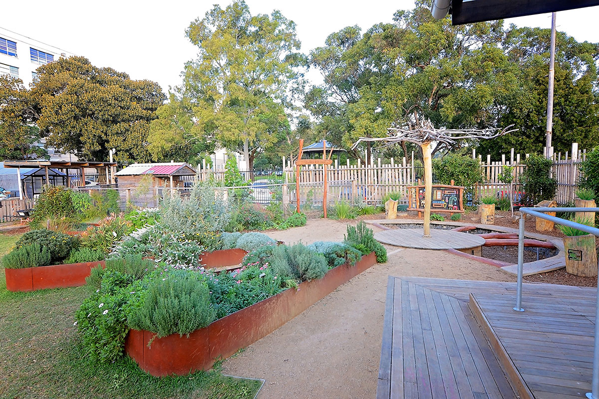 Playspace and vegetable gardens at Camperdown Commons