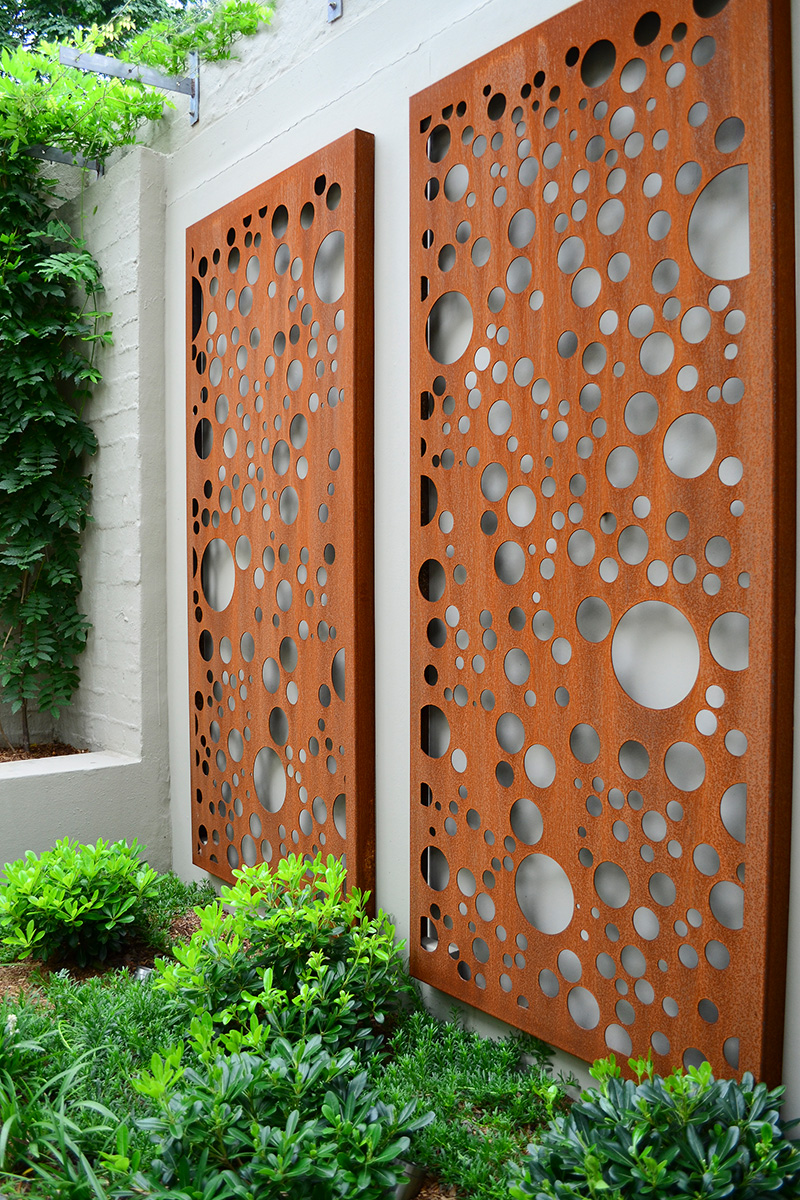 Backyard landscape design decorative panels