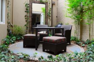 Backyard landscape design seating area