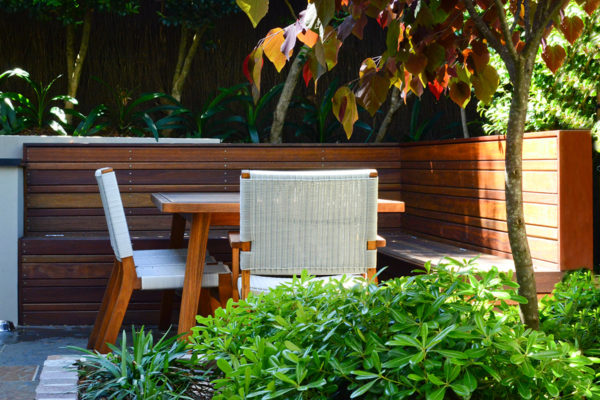 Courtyard landscape design inbuilt seating