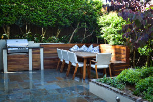 Courtyard landscape design outdoor dining and bbq