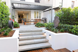 Courtyard landscape design dining area and steps