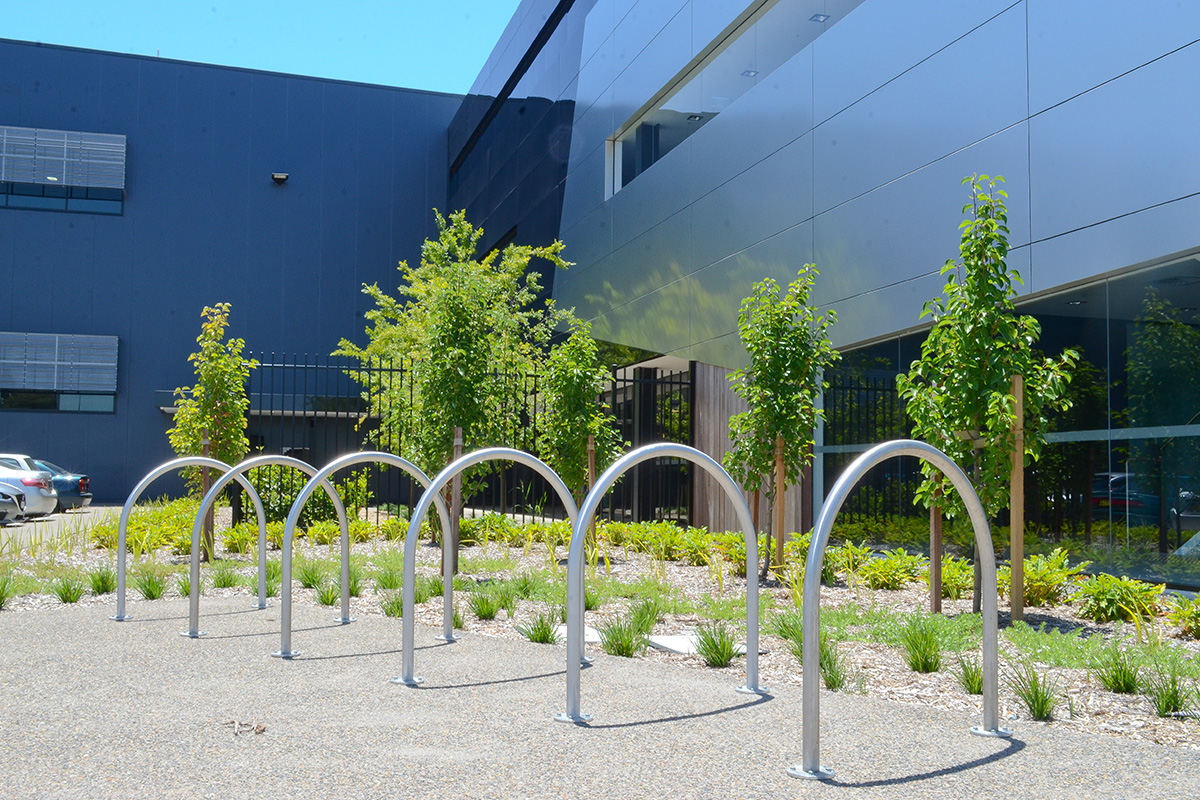 Landscape architecture bike racks and gardens