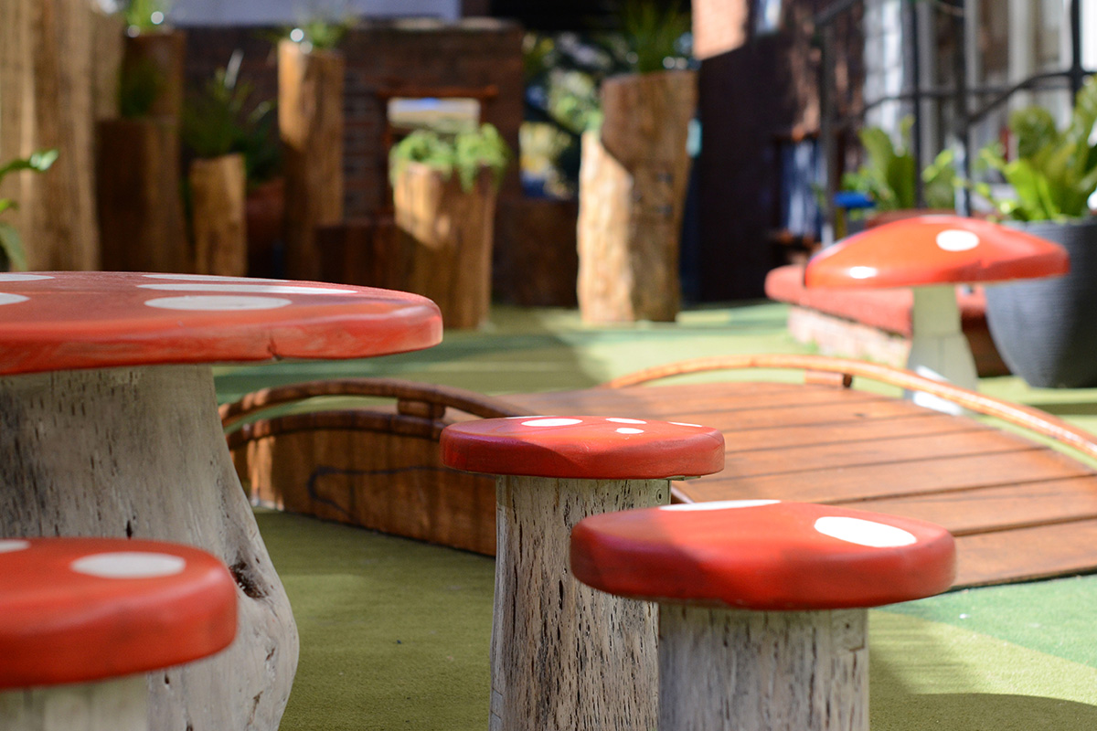 Play space design toadstool seats and table