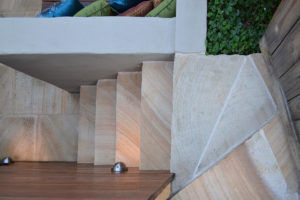 Courtyard landscape design sandstone stairs