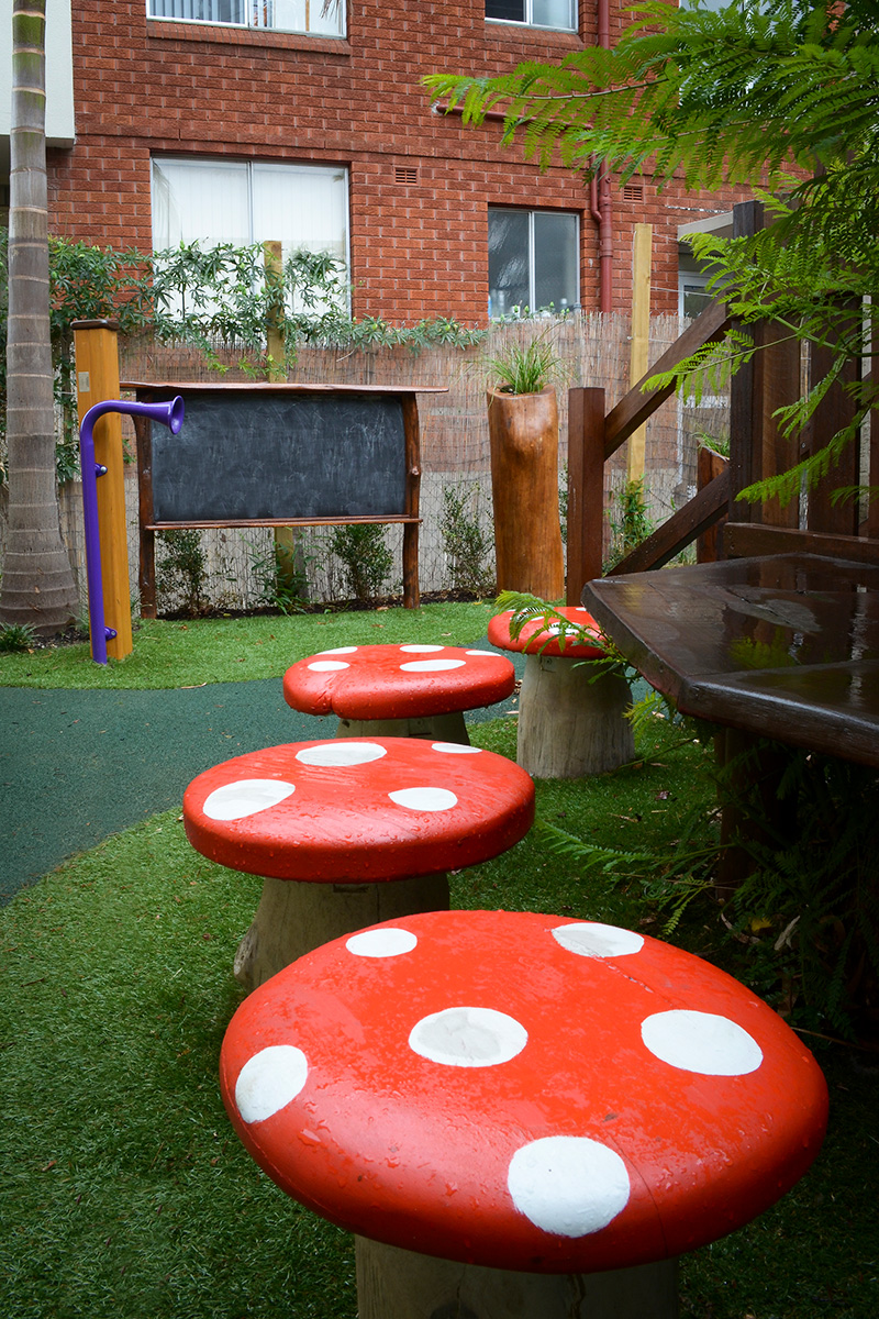 Play space design mushroom seating