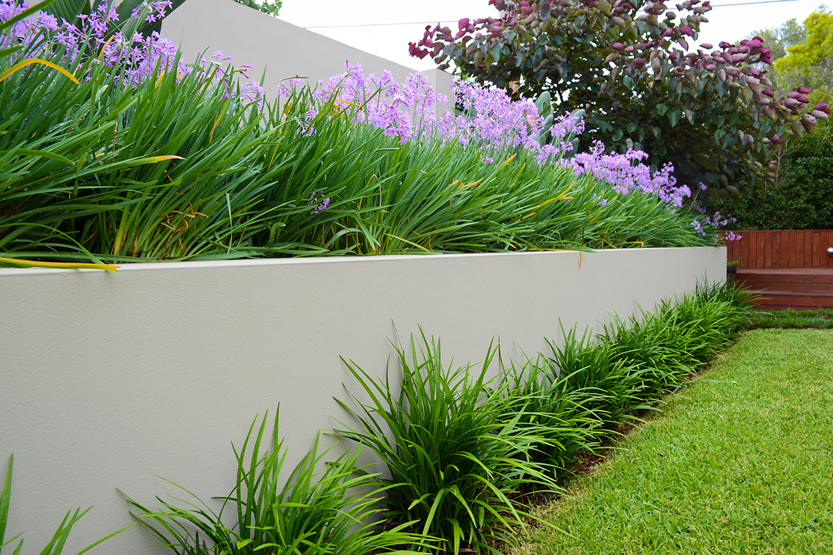 Family garden landscape design retaining wall and plantings