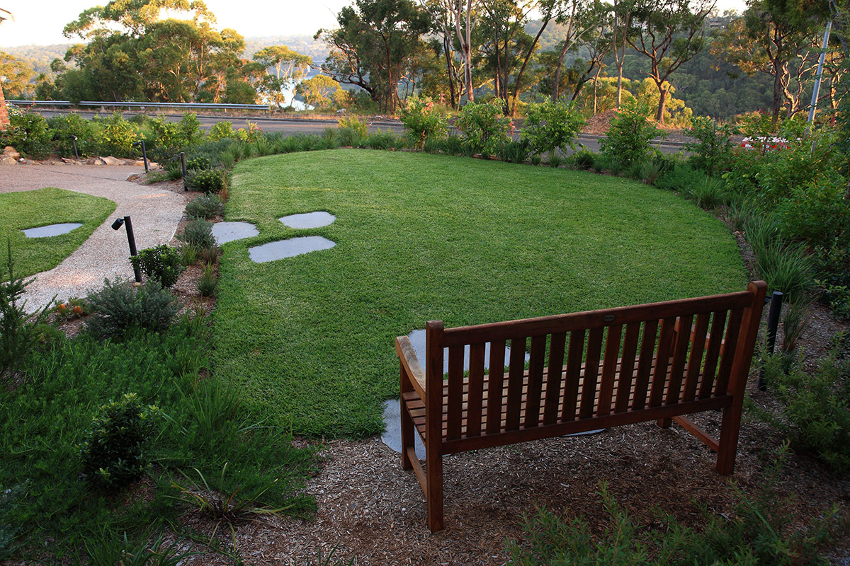 landscape design with garden seat