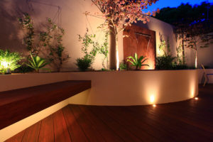 Courtyard curved wall