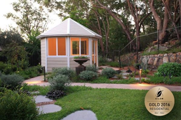 Summer house in this therapeutic garden