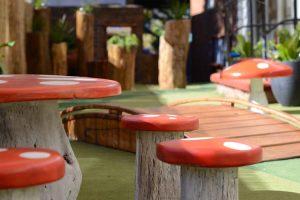 Timber mushroom table and stools