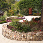 Backyard landscape design with curved pathways