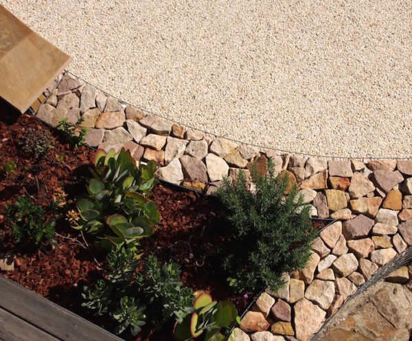 Backyard landscape design gabion feature