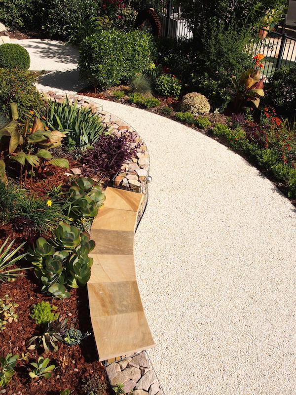 Backyard landscape design plantings along winding path