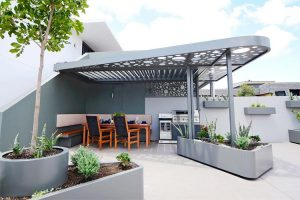 The overhead structure with vergola insert