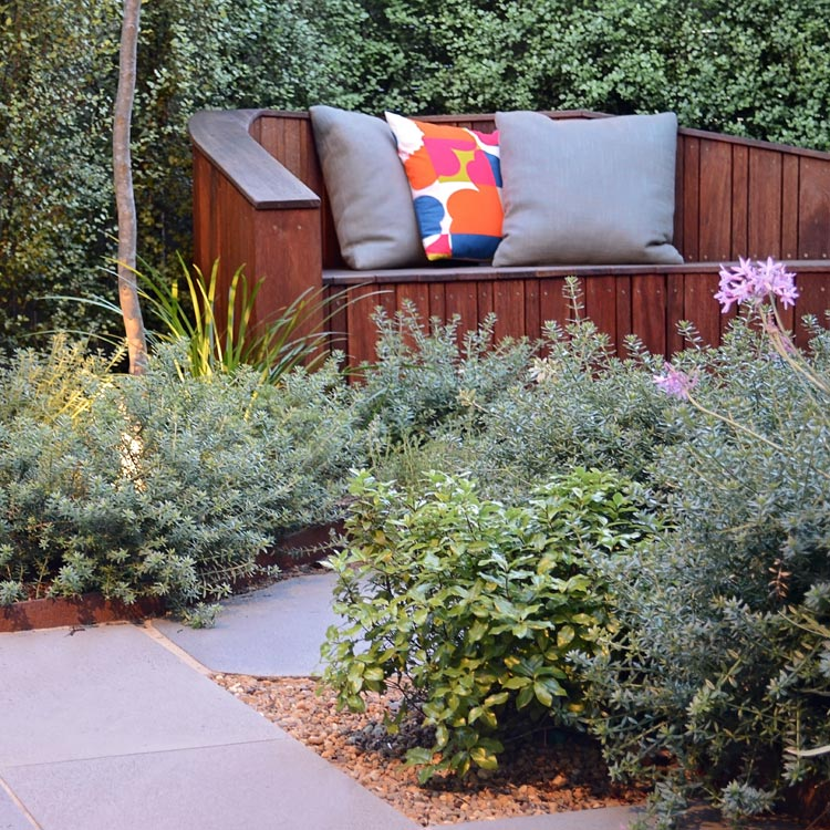 Bespoke timber seat with soft planting
