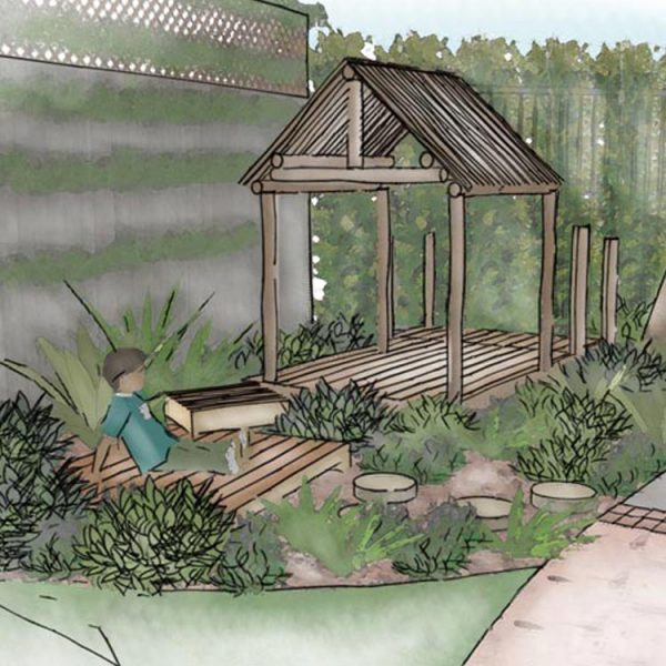Conceptual sketch perspective of outdoor classroom area