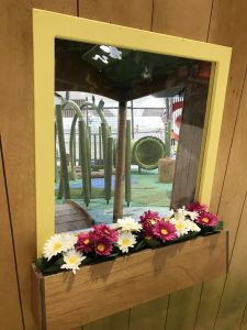 looking through the cubby window through to the play space