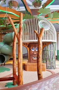 Natural timber play element with talking tree house
