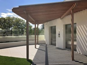 Overhead pergola with soft round corners