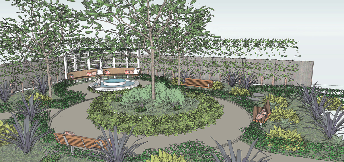 3D perspective of the garden area