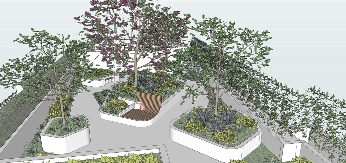 Visual perspective of the rooftop garden area
