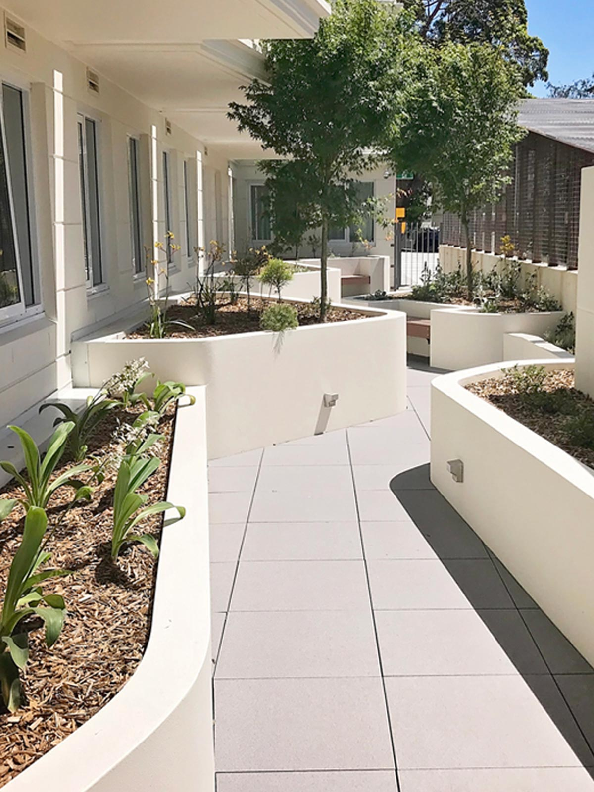 Raised garden beds with rendered, rounded corners to soften the area