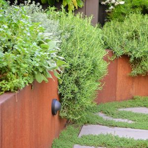 Raised corten planters with production planting