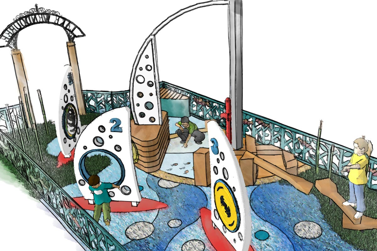 Coloured conceptual perspective of playground