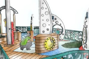 Close up coloured conceptual perspective of playground