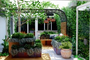 Inner courtyard with curved seating pod and raised copper planters