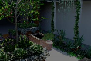 in built water feature with raised planters