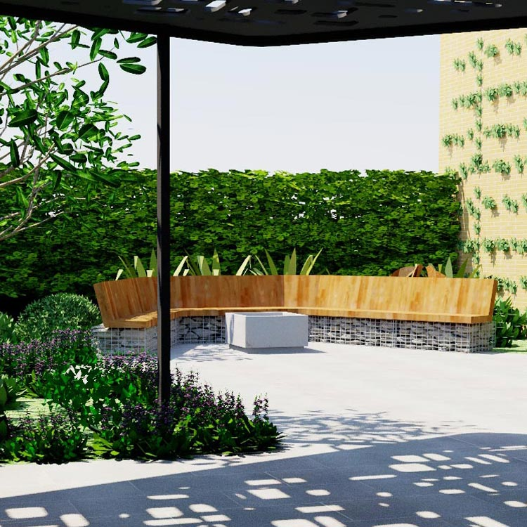Timber bench seat and soft planting with overhead structure