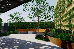 Raised planter and bench seat courtyard
