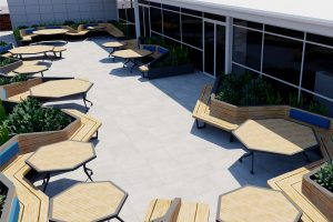 Adjustable height tilt top tables with raised planters and bench seats