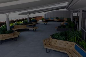 Conceptual model of balcony seating