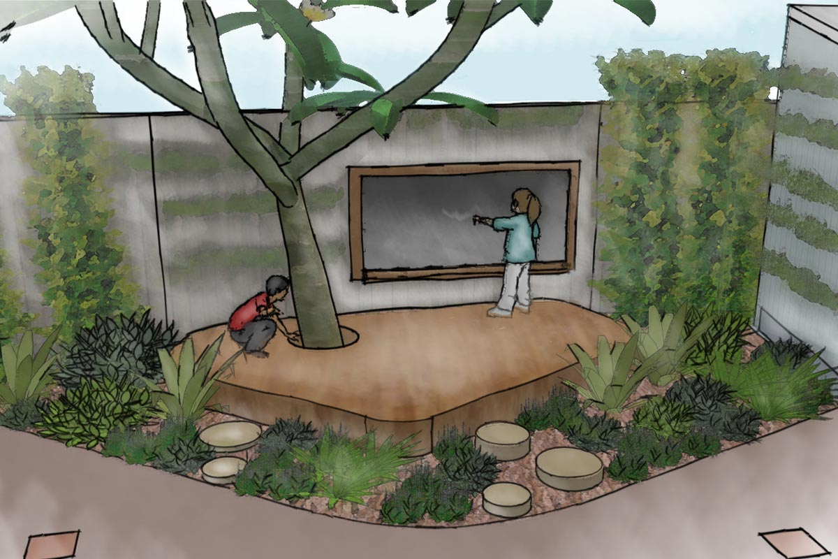 Conceptual sketch perspective of outdoor classroom area