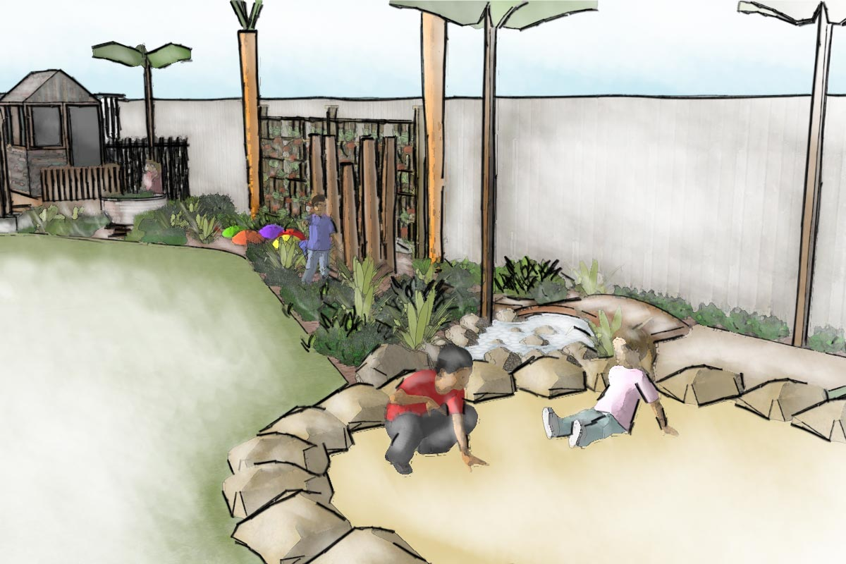 Conceptual sketch perspective of sandpit and production garden playspace