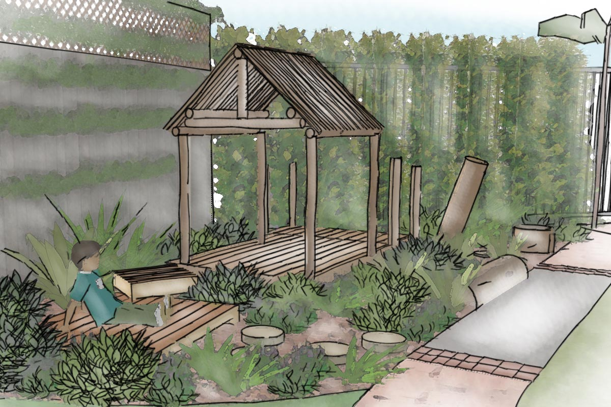 Conceptual sketch perspective of timber cubby and native plant garden