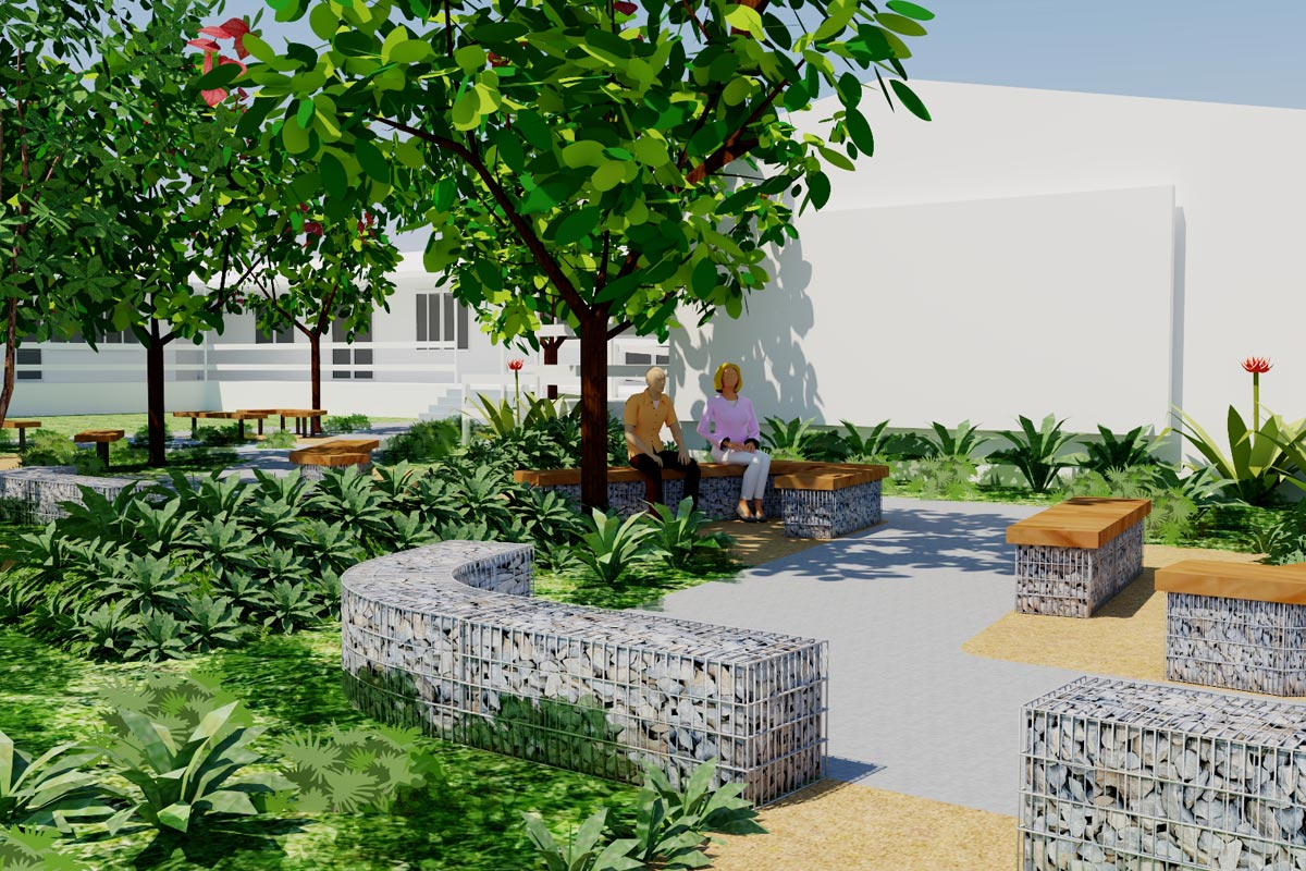 Conceptual model of gabion wall seating area with lush native planting