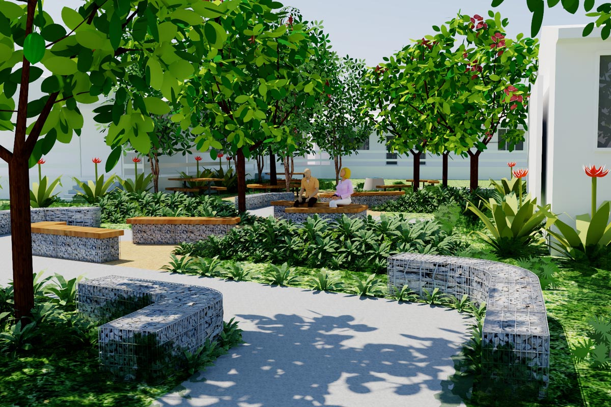 Conceptual model of tranquil seating area with lush native planting