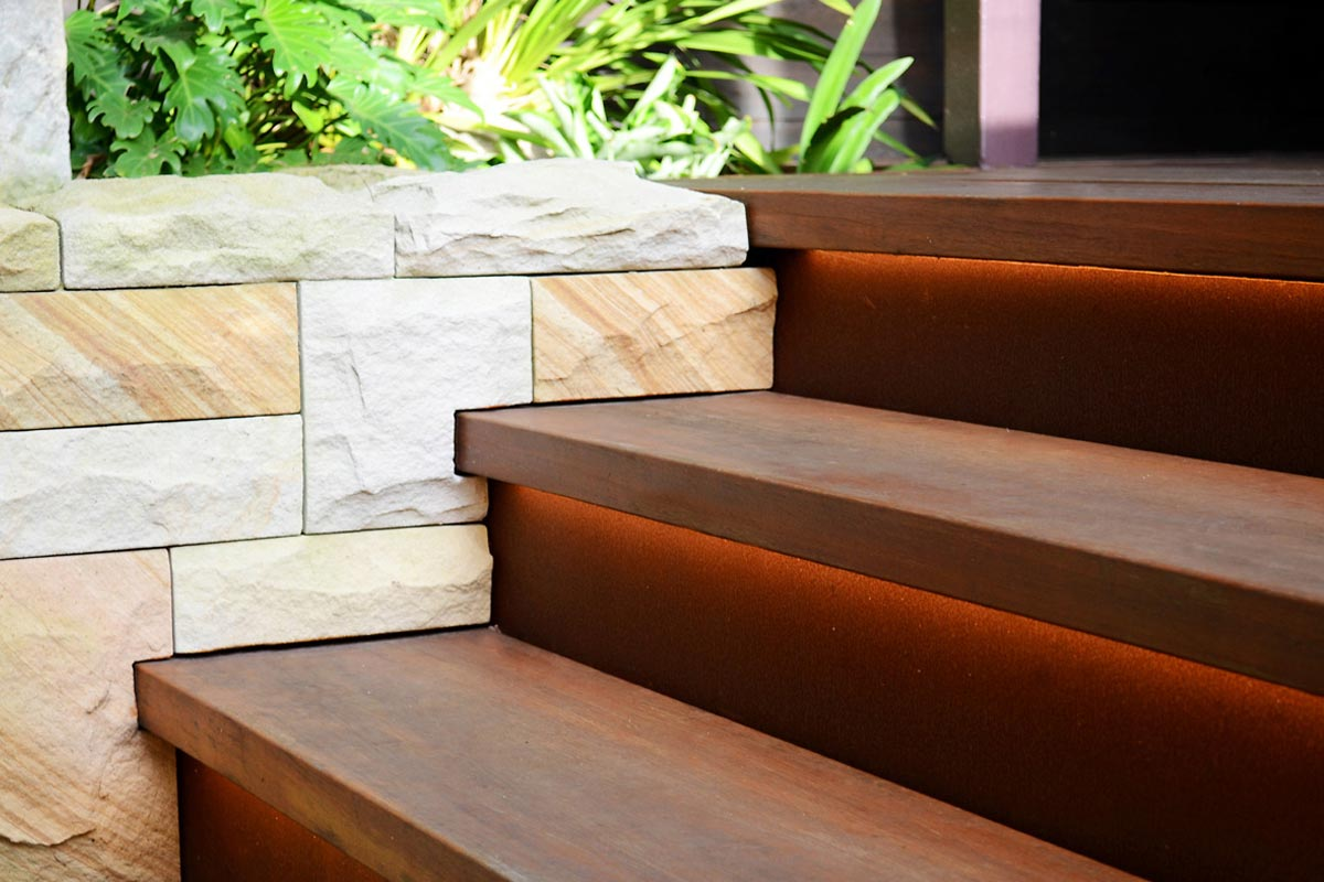 Timber stairs with strip lighting