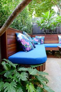 Built in timber seat with cushions