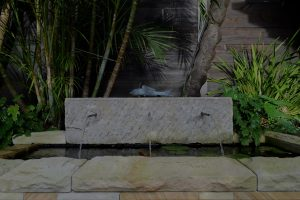 Close up image of the natural stone water feature