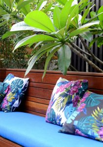 Frangipani tree and seating